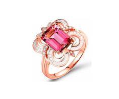 Bague de fiançailles en or rose 18 cts, tourmaline et diamants.