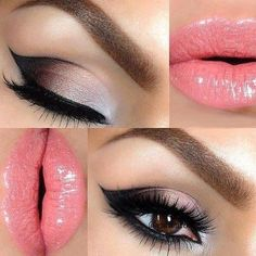 Gorgeous date night look !! Pink glossy lips with a soft pink to dark wing flick off the eye.