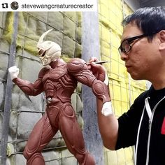 Repost from @stevewangcreaturecreator  Working on the 1/3 guyver maquette. Sculpted with @quirkymonster
