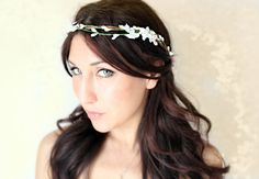 Flower Crown White Woodland Wedding Tiara Bridal Hair by deLoop, $50.00. [want want want]