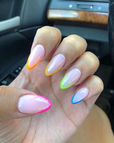 "👑Crown The Nails By Nancy💅🏽 on Instagram: ""🌈 🌈 #funnails #prettynails #dopenails #clientselfie #nails #almondnails #gelpolish #nailstagram #nailpro #acrylicnails #colors #nails…"" Fabulous Nails, Perfect Nails, Hair And Nails, My Nails, Nagel Blog, Fire Nails, Best Acrylic Nails, Rainbow Nails, Dream Nails"