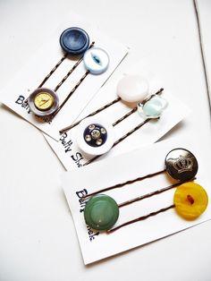 HALF PRICE . Three Packs Of 9 . Handmade Vintage Buttons Bobby Pins  £6.00