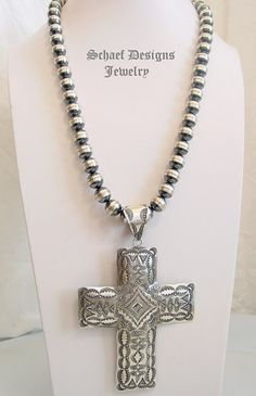 Large Vince Platero Sterling Silver Hand Stamped Cross Pendant | Schaef Designs Southwestern Jewelry | New Mexico