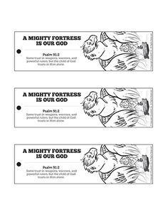 Psalm 91 A Mighty Fortress is our God Bible Bookmarks: Help your kids discover the joy of personal Bible study with these A Mighty Fortress is our God Bible bookmarks. Fun to color and cut out, this activity is perfect for your upcoming lesson on Psalm 91.