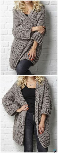 Crochet Big Chill cardigan Pattern - This is the perfect work-from-home sweater - so cozy, so warm!
