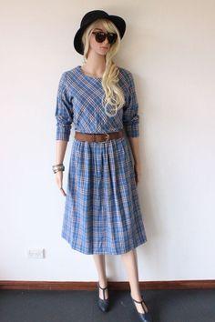 GENUINE VINTAGE DRESS tartan plad check BLUE boho trendy midi indie GRUNGE punk
