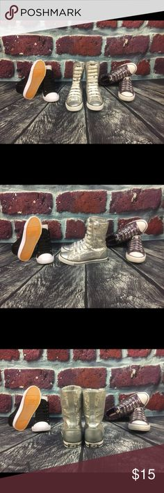 """Unisex Sneakers Size 7 1/2 by """"Gotta Flurt"""" Bling Bling with this Sequin Silver pair of Size 7 1/2 """"GOTTA FLURT"""" unisex Sneakers. Wear them up or snap down for the coolest look either way. Don't wait. BUT THESE RIGHT NOW. GOTTA FLURT Shoes Sneakers"""