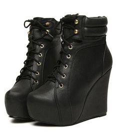 Black Wedge Heels Boots