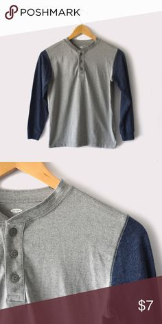 Old Navy Jersey Henley Tee for Boys Old Navy | Size medium (8) | long sleeves | button closure on front | all pictures taken by me product shown as is Old Navy Shirts & Tops Tees - Long Sleeve