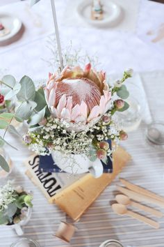 Lovely King Proteas for a Rustic Vintage Wedding. Wedding Flowers, King, Rustic, Table Decorations, Party, Vintage, Home Decor, Country Primitive, Decoration Home