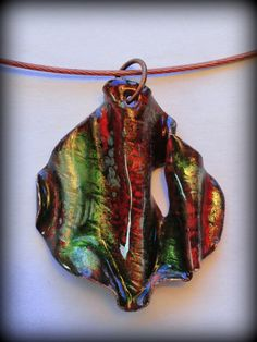 Reversible Transparent Glass and Copper Pendant  1.5 by enamelista, $30.00