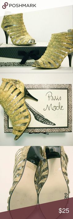 "Simonelli Heels Snake print / 3.5"" Heel / Yellow-Gold & Black / Complimentary box Simonelli Shoes Heels"