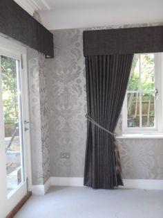 Full Length Curtains with Pelmet - should resolve light leak @ top of blinds.