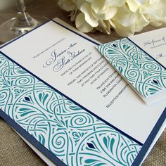Art Deco Wedding Invitations Art Nouveau Wedding Invitations Sample. $2.50, via Etsy.