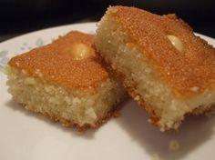 Harissa, Harisa, Haresa Arabic Semolina Cake - you can replace the Semolina with Farina and I add a little cinnamon - YUM Arabic Dessert, Arabic Sweets, Arabic Food, Middle East Food, Middle Eastern Desserts, Sweet Recipes, Cake Recipes, Dessert Recipes, Tofu Recipes