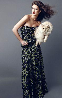 Katryn Kruger in Giorgio Armani Fall Winter 2014-2015 Gown for Harper's BAZAAR September 2014 China by Nagi Sakai