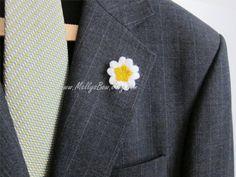 Mens Boutonniere Wool Felt Lapel Flower  125 by MellysBow on Etsy