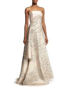 Strapless+Embroidered+Applique+Gown,+Champagne+by+Rubin+Singer+at+Neiman+Marcus.