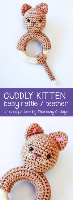 Crochet kitten rattle // Cat rattle // Wooden teether // Handmade baby gift // crochet pattern