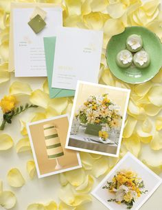 Frech and light soft yellow and lime colours for summer wedding.