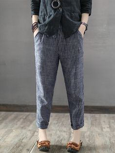 [US$25.99] Women Striped High Elastic Waist Long Harem Pants #women #striped #high #elastic #waist #long #harem #pants