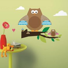 #oBedding - #York Wallcoverings Owls Branches Wall Accent - 44pc Woodland Animals Stickers - AdoreWe.com