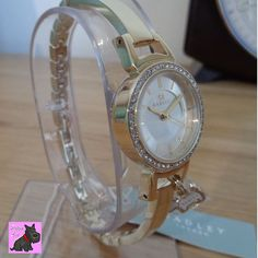 Radley - RY4152 Ladies Stone Set Gold Plated Half Bangle Watch. New