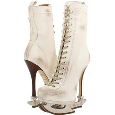 DSQUARED2 Ankle Boot Milly Vitello Bianco ($1,043) ❤ liked on Polyvore featuring shoes, boots, ankle booties, women, ankle boots, lace up high heel boots, lace up ankle boots, high heel boots, platform booties and stiletto booties