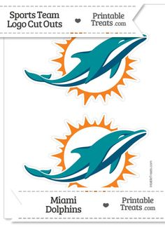 Miami Dolphins Coloring Page Medium Logo Cut Outs From PrintableTreats