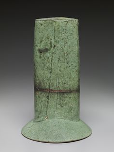 Pucker Gallery, Randy Johnston,   Oval vase with skirt, copper glaze with feldspar inclusions, Stoneware, 14.5 x 9 x 7""