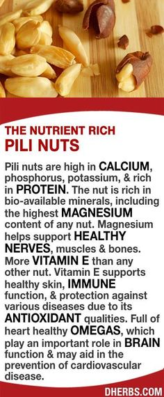 Pili nuts high in calcium, phosphorus, potassium, & rich in protein. Rich in bio-available minerals, including the highest magnesium content of any nut. Magnesium helps support healthy nerves, muscles & bones. More Vitamin E than any other nut which supports healthy skin, immune function, & protection against various diseases due to its antioxidant qualities. Full of heart healthy omegas, which play an important role in brain function & may aid in prevention of cardiovascular disease. #dherbs #v