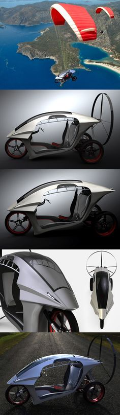 ♥ ♂ The ParaMoto Trike is the convergence of designer Zvezdan Nedeljković's three passions: flying, motorcycles and designing. Well kudos to that, because his zeal has translated into the beautifully ergonomic ParaMoto Trike! An ultralight electric vehicle that goes from a scooter to an elegant powered paragliding trike, in a jiffy! It's off to a flying start! from http://psipunk.com/paramoto-trike-by-zvezdan-nedeljkovic/