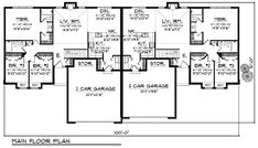 Multi-Family Plan 73480 - Traditional Style Multi-Family Plan with 2844 Sq Ft, 6 Bed, 4 Bath, 4 Car Garage Cottage House Plans, Craftsman House Plans, Country House Plans, Modern House Plans, Small House Plans, Duplex Floor Plans, House Floor Plans, One Level Homes, Duplex Design