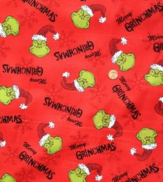 The Grinch, on screen printed cotton fabric Listing is for one FAT QUARTER - Approximately X Le Grinch, Snoopy Christmas, Christmas Carol, Xmas, Christmas Background, Red Background, Cute Screen Savers, Christmas Phone Wallpaper, Free Printable Art