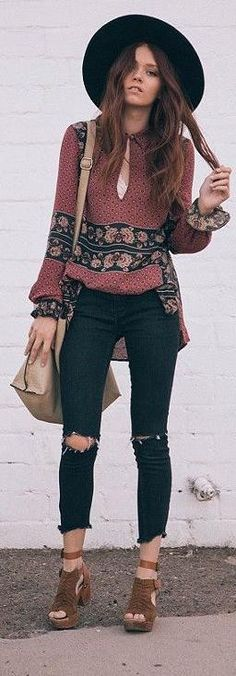 #spring #outfits  Black Hat & Red Printed Blouse & Black Destroyed Skinny Jeans