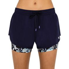Inject some playful patterning into your workout wardrobe with the Layered Run Short from B Athletic. These navy blue running shorts boast an elasticised waistband with drawstring, mesh side panels and trendy patterned undershorts for a secure fit with every wear. The perfect pick for sweat sessions, these women's shorts will quickly become your go-to pair.