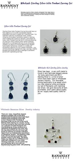 Rananjay Exports a revered wholesale gemstone Silver Jewelry manufacturer based in Jaipur brings forth ingenuous & contemporary designs using Iolite as a semi-precious stone.