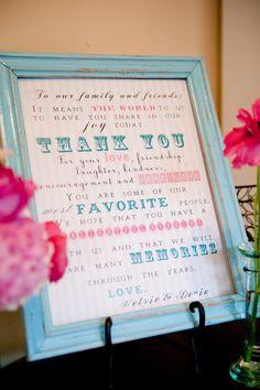 Wedding Thank You Sign. $15.00, via Etsy.