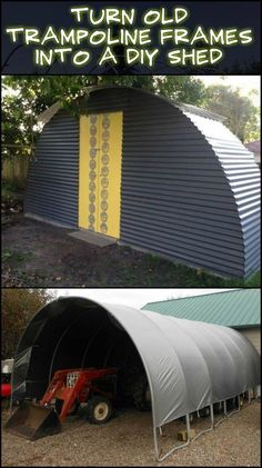Use the frame of an old trampoline to create a garden shed.