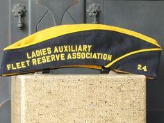 Vintage Ladies Military Garrison Hat, Ladies Auxiliary Fleet Reserve Association, Blue, Gold    Dark blue and gold  Gold Satin lining  Vintage
