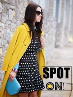 bittersweet colours, colorful coats, yellow coat, Christian Dior, Mango, cooee jewelry, Zatchels, polka dots, street style, winter trends, p...