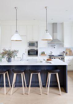 Kitchen Interior Herringbone backsplash with shaker cabinetry - super dreamy kitchen photo by Janis Nicolay - New Kitchen, Kitchen Dining, Kitchen Decor, Kitchen Island, Kitchen Ideas, Kitchen Time, Stylish Kitchen, Kitchen Stools, Kitchen Furniture
