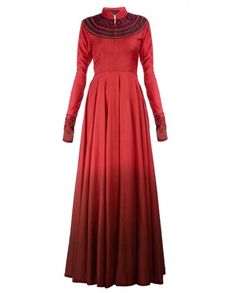 Thread Embroidered Ombre Red Anarkali Kurta- $400