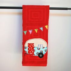 Vintage Camper Trailer Dish Towel Red by CreativeJunkee on Etsy, $16.00