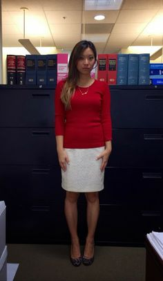 work wear: basics in red and white Slit Skirt, Dress Skirt, Lace Skirt, Business Attire, Business Women, Work Wardrobe, Work Wear, Feminine, Lady