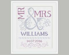 Wedding Cross Stitch Pattern Mr & Mrs Cross by PatternStitchShop