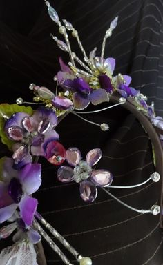 This is a stunning hand made tiara suitable for all ballets. It can be used for the role of Princess Aurora in Act I and II, for the role of Sugar Plum fairy, for Lilac Fairy, etc.The base is gold and