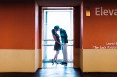 Long Beach Engagement photography | Henny + Jefferey | back lit elevator