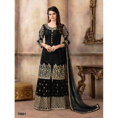 Stylish Brown Color Faux Georgette Embroidered Sharara style Party Wear Pakistani Suit Make your presence more beautiful and adorable wearing this gorgeous brown color sharara style pakistani salwar kameez. The fabric of top is made of faux gerogette fabr Pakistani Sharara, Sharara Suit, Pakistani Suits, Pakistani Dresses, Indian Dresses, Churidar Suits, Patiala, Anarkali Suits, Punjabi Suits