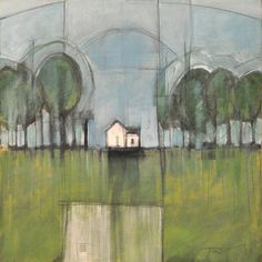 A beautiful piece painted in cool tones of a great little white house on the horizon. Tim Nyberg is the artist.
